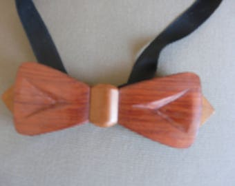 bow tie vintage two tone with adjustable solid exotic wood