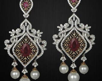 Gold Plated Silver Red Center Earrings with Pearl