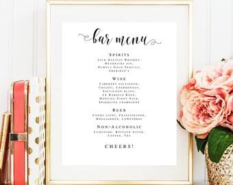 Bar menu template Bar menu editable DIY Bar menu download Bar menu instant download Bar menu wedding template Wedding bar menu sign #vm31
