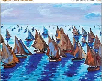 "SALE POSTCARD Claude Monet Fishing Boats Calm Seas Coastal Seascape Art Print By Scott D Van Osdol 4x6"" Of My Original Colorful Ready To Fra"