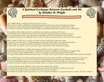 A Spiritual Exchange Between Seashells and Me - Printable Poetry Instant Download