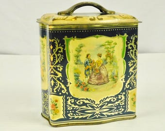 Vintage Blue and Yellow Decorative Floral Metal Tin Container with Lid Made in England Blue Yellow Gold Victorian Couple Garden Girl Dog