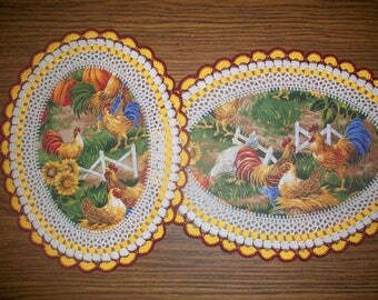 Set of 2 New Handmade Crochet Doilies/Roosters & Hens/Chickens/Sunflowers/Fall Colors