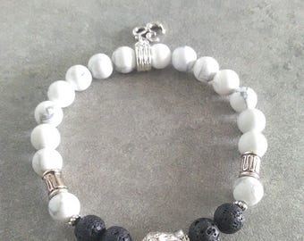 Please be energized, bracelet, white Howlite, lava rock and its zen Buddha