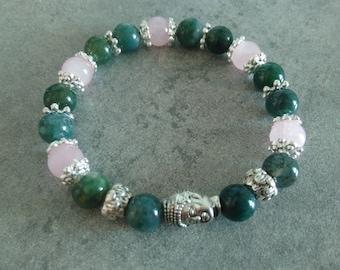 Protection bracelet énergétisé green moss Agate, rose Quartz and its zen Buddha
