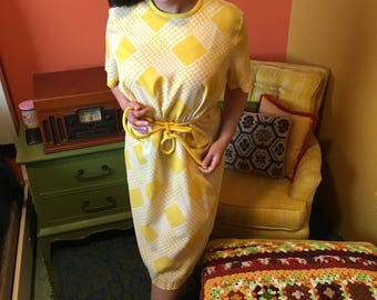 1950s yellow house dress
