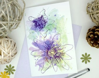 Passion Flowers, Purple Flowers, Blank Cards, Handmade Cards, Thank You Cards, Summer Wedding, Flower Cards, Birthday Card Mum, 6x4 Print
