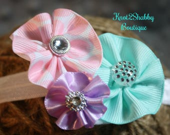 Mint Green, Light Pink and Purple Cluster Bow with headband