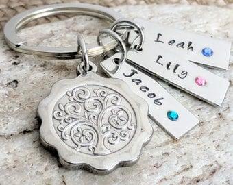 Kids name keychain, kids name key chain, Tree of life, keychain, Tree of life keyring, key ring, Gift for mom, mom gift, Custom gifts