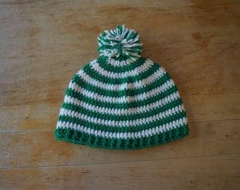 Crochet green and white winter hat, Michigan State hat, hat, hat crochet, men's hat, hat men, winter hat, women's hat, hat women