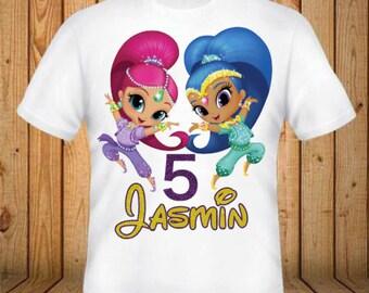 Shimmer and Shine Birthday Shirt - kids Birthday Shirts - Personalized Shirts - Custom Shirts - Kids - Birthday Shirts-