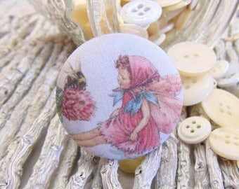 x 1 cabochon 28mm 5 BOUT8 flower fairy fabric