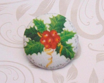 1 fabric button x 19mm hoe Christmas ref A31