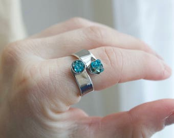 Turquoise - Silver plated ring double cabochon