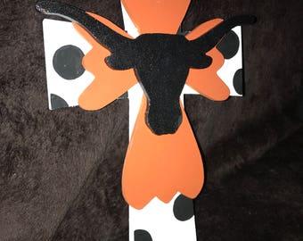 Texas Longhorn Layered Cross Wall Art