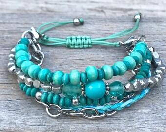 Stacker Bracelet, Boho Bracelet, Bracelet Set, Beach Bracelet, Mix and Match Bracelet, Stocking Filler, Beaded Bracelet, Gift for Her