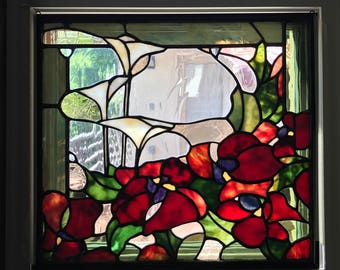 Red Stained Glass Floral Panel