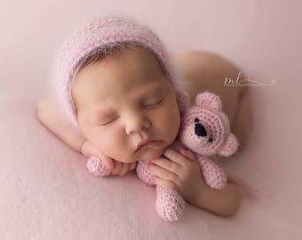 Soft Pink Fuzzy Knit - Thick Fabric Backdrop - Posing Fabric - Newborn Photography - 2 Yard Beanbag Fabric Knit Blanket