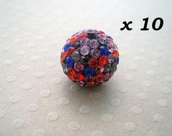 10 multicolored 12 mm rhinestone beads