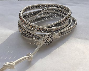 Silver and white wrap bracelet. Leather wrap bracelet. Beaded silver wrap bracelet