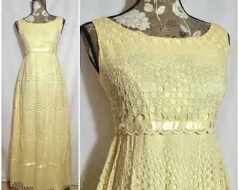 Vintage 1960s Yellow Eyelet Maxi Dress // S