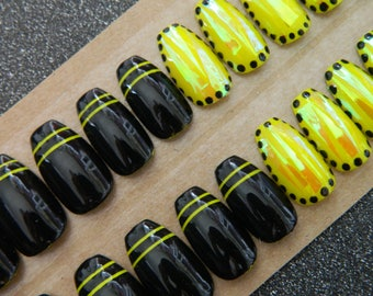Black and Neon Yellow False Nails