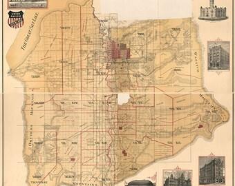 1890 Map of Salt Lake County Utah