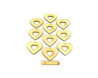 Hearts with heart neckline from wood-wedding birthday celebrations celebrations decoration-set of 10-5 cm