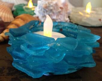 Beach Sea Glass Candle #83 Holder Home Cabana Decor Beach Glass