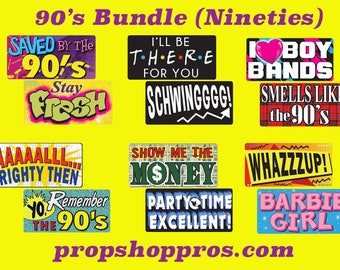 90's Nineties Signs | Photo Booth Props | Prop Signs
