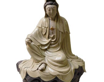Quality Handmade Clay Sitting Meditate Kwan Yin Bodhisattva Statue n242E