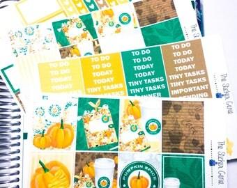 Pumpkin Spice Weekly Kit | Planner Sticker, Weekly Kit, pumpkin Weekly Kit, Vertical Planner Kit, fall weekly kit, coffee planner sticker