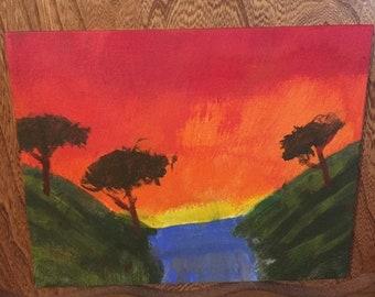 Sunset Acrylic Painting on Canvas