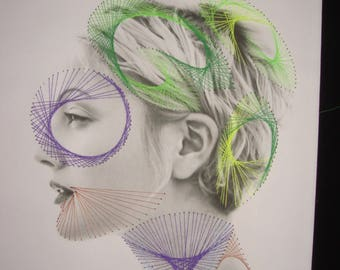 Movies: Portrait of actress Drew Barrymore: photo and son stretched (string art)