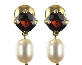Boucles d'oreilles grenats perles Or jaune 18K Classique