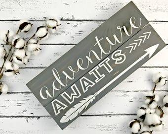 Adventure Awaits Sign - Adventure Sign - Graduation Gift - Graduation Sign