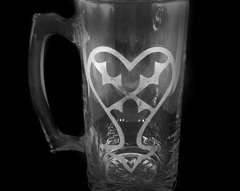 Heartless etched mug