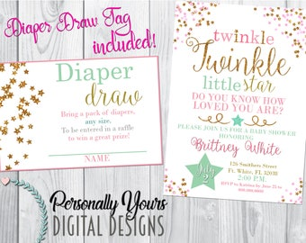 Twinkle Twinkle Little Star Baby Shower Themed Invitation