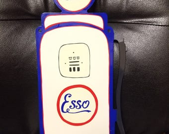 Hand painted Esso gas pump wall art