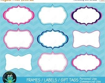 75% OFF SALE Label Frames Clipart, Vector Graphics, Commercial Use, Label Frames Vector, Digital Clip Art, Gift Tags, Digital Images - UZ629
