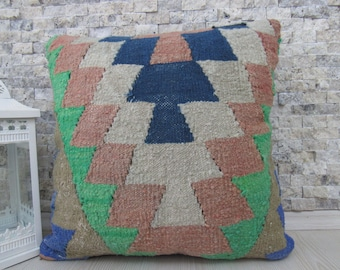 Needle Embroidery Handwoven Vintage Kilim Pillow Cushion 18x18 Pillows Kilim Lumbar Bohemian Pillow Couch Pillow Home Decor Pillows