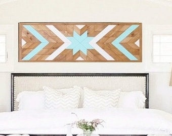 Southwestern Wood Art, Geometric Wood Headboard, Reclaimed Wall Hanging, Beach Art, Rustic Wall Art, Star Wood Quilt, Cottage Chic Art,