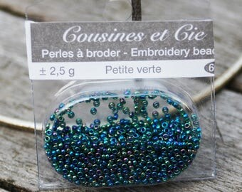 Beads embroidery blue-green - (ref 6609)