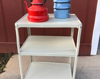 Vintage Mid Century (painted) Almond Rolling Metal Kitchen Cart 3 Tiers