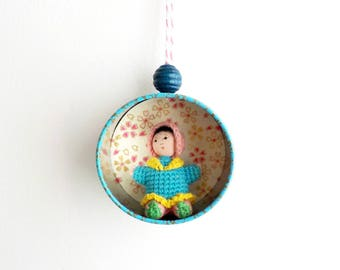 "Christmas ornament ""Amigurumi Doll"" - Christmas tree Decoration - Upcycling Tea Caddy"