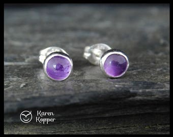 February birthstone earrings - Natural purple amethyst gemstone cabochon, 5mm, in a sterling silver bezel, Ready to ship. 192