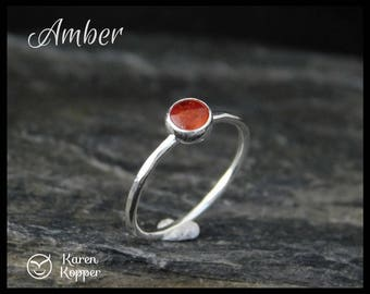 Amber cabochon sterling silver ring, 5mm. Skinny ring, stacking ring. Made at your size.