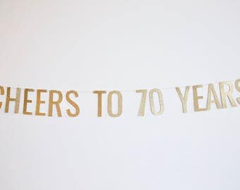 Cheers to 70 Years Banner - Birthday Banner - 70th Birthday Party Decor