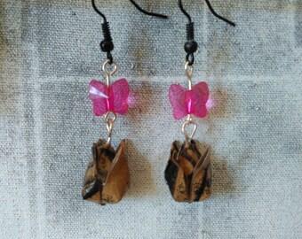 Pair of earrings origami Tulip