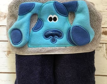 Blue Dog Hooded Towel - Perfect for Pool, Beach or Bath Time - Great Birthday Gift